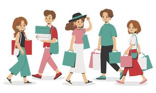 ショッピングをする若者のイラスト素材 [FYI04870482]