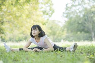 緑あふれる公園でストレッチをする若い女性の写真素材 [FYI04871003]