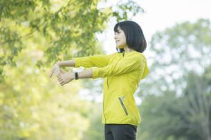 緑あふれる公園でストレッチをする若い女性の写真素材 [FYI04871023]