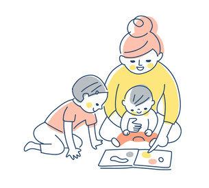 絵本を見ている親子のイラスト素材 [FYI04871280]