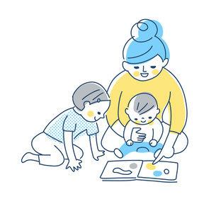 絵本を見ている親子のイラスト素材 [FYI04871281]