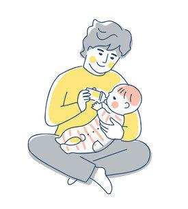 赤ちゃんにミルクを飲ませるパパのイラスト素材 [FYI04871284]