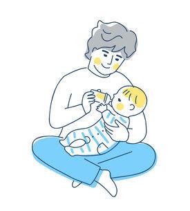 赤ちゃんにミルクを飲ませるパパのイラスト素材 [FYI04871285]