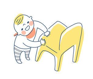 つかまり立ちをする赤ちゃんのイラスト素材 [FYI04871286]