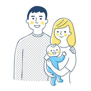 家族 赤ちゃんを抱っこするママとパパ 上半身のイラスト素材 [FYI04871289]
