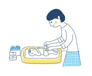 赤ちゃんのおむつ替えをするママのイラスト素材 [FYI04871291]