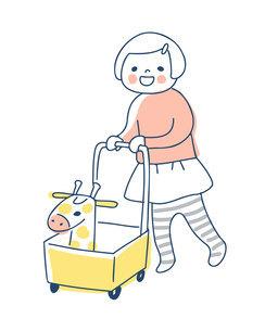 手押し車を押して歩く女の子のイラスト素材 [FYI04871292]