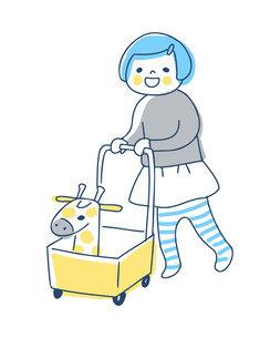 手押し車を押して歩く女の子のイラスト素材 [FYI04871293]