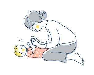 手を合わせて遊ぶママと赤ちゃんのイラスト素材 [FYI04871294]