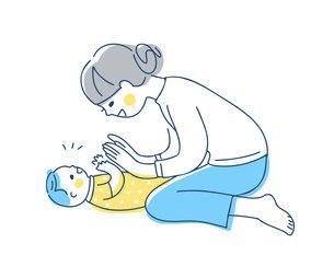 手を合わせて遊ぶママと赤ちゃんのイラスト素材 [FYI04871295]
