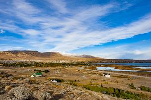 パタゴニアの秋:カラファテ町の遠望の写真素材 [FYI04871392]