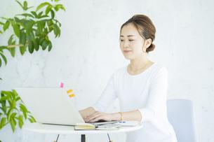 明るい部屋でノートパソコンを操作する女性の写真素材 [FYI04872574]
