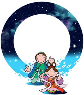 七夕と天の川の背景とキャラクターのイラスト素材 [FYI04872710]