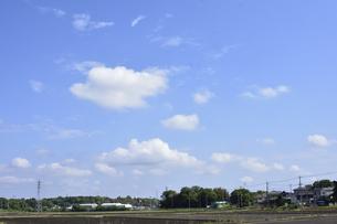 畑が並び民家やその他の建物や木々や鉄塔や送電線のある上空に浮かぶ沢山の白い雲の光景の写真素材 [FYI04872995]