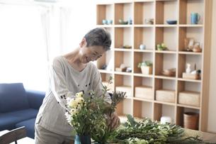 花を活ける日本人シニア女性の写真素材 [FYI04873013]