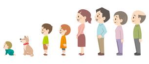 三世代家族の横向きセットのイラスト素材 [FYI04873113]