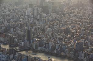 東京スカイツリーから望む東京の街並みと隅田川の写真素材 [FYI04873238]