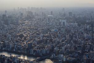 東京スカイツリーから望む東京の街並みと都心のビル群の写真素材 [FYI04873239]