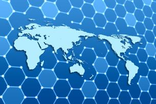世界地図と六角形の模様 CGのイラスト素材 [FYI04873293]