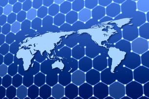 世界地図と六角形の模様 CGのイラスト素材 [FYI04873294]