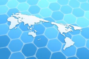 世界地図と六角形の模様 CGのイラスト素材 [FYI04873295]