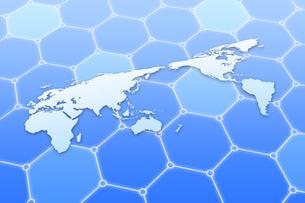 世界地図と六角形の模様 CGのイラスト素材 [FYI04873296]