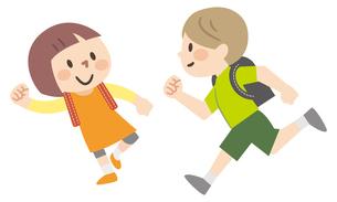 ランドセルを背負って走る子供たちのイラスト素材 [FYI04873373]