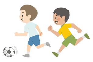 サッカーをする男の子のイラスト素材 [FYI04873376]