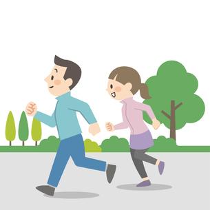 屋外でジョギングをするカップルのイラスト素材 [FYI04873388]