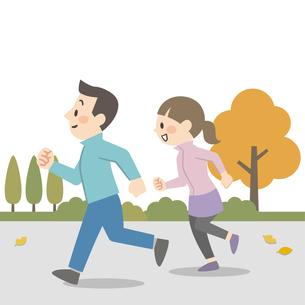 屋外でジョギングをするカップルのイラスト素材 [FYI04873389]