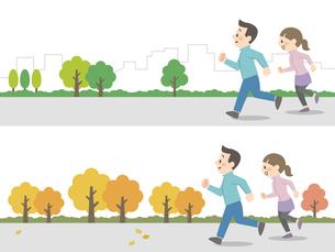 屋外でジョギングをするカップルのイラスト素材 [FYI04873390]