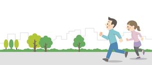 屋外でジョギングをするカップルのイラスト素材 [FYI04873391]