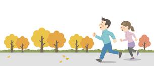 屋外でジョギングをするカップルのイラスト素材 [FYI04873392]