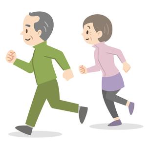 ジョギングをする老夫婦のイラスト素材 [FYI04873395]