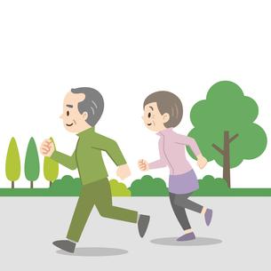 屋外でジョギングをする老夫婦のイラスト素材 [FYI04873396]