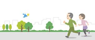 屋外でジョギングをする老夫婦のイラスト素材 [FYI04873397]