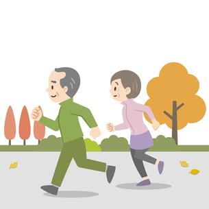 屋外でジョギングをする老夫婦のイラスト素材 [FYI04873398]