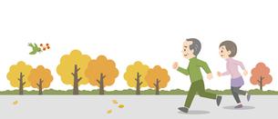 屋外でジョギングをする老夫婦のイラスト素材 [FYI04873399]
