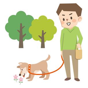 犬の散歩をする若い男性のイラスト素材 [FYI04873413]
