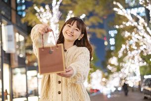 プレゼントを持つ女性の写真素材 [FYI04873440]