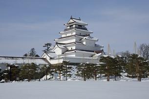 雪の鶴ヶ城の写真素材 [FYI04873502]