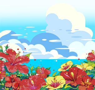 夏の背景,ハイビスカスと海と積乱雲のイラスト素材 [FYI04873767]