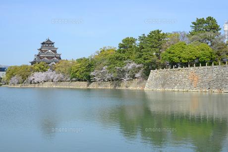 春の広島城天守とお堀の写真素材 [FYI04873984]