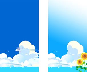 青空にカモメとヒマワリの夏の背景イラストのイラスト素材 [FYI04874170]