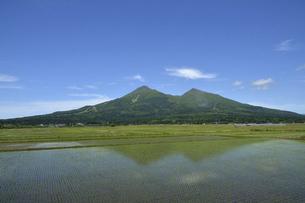 水田風景と磐梯山の写真素材 [FYI04874242]