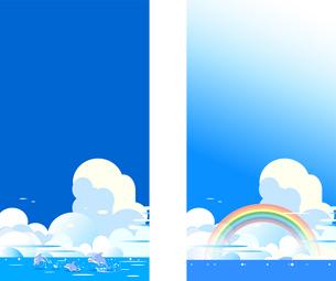 イルカと虹の青い海の積乱雲のある背景のイラスト素材 [FYI04874694]