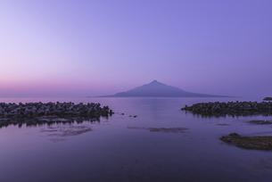 夜明けの礼文島からの利尻富士の写真素材 [FYI04874973]