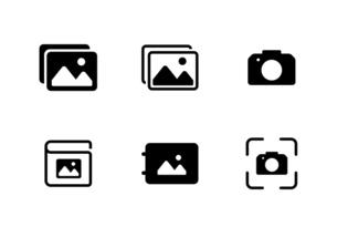 写真や撮影アプリのアイコンセットのイラスト素材 [FYI04874979]