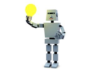 電球を持つロボットのイラスト素材 [FYI04875039]