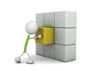 ブロックを押す棒人間のイラスト素材 [FYI04875239]